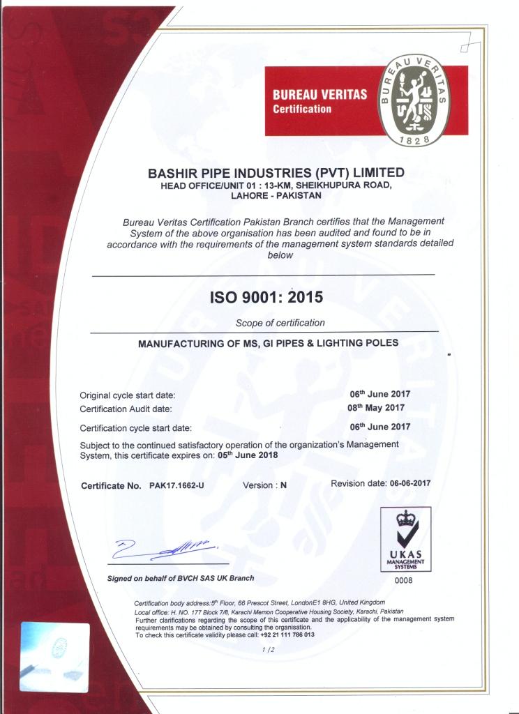 ISO 9001-2015 U-I upto 06-2018