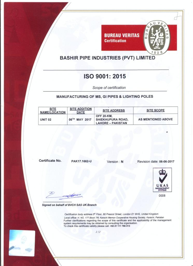 ISO 9001-2015 U-II upto 06-2018